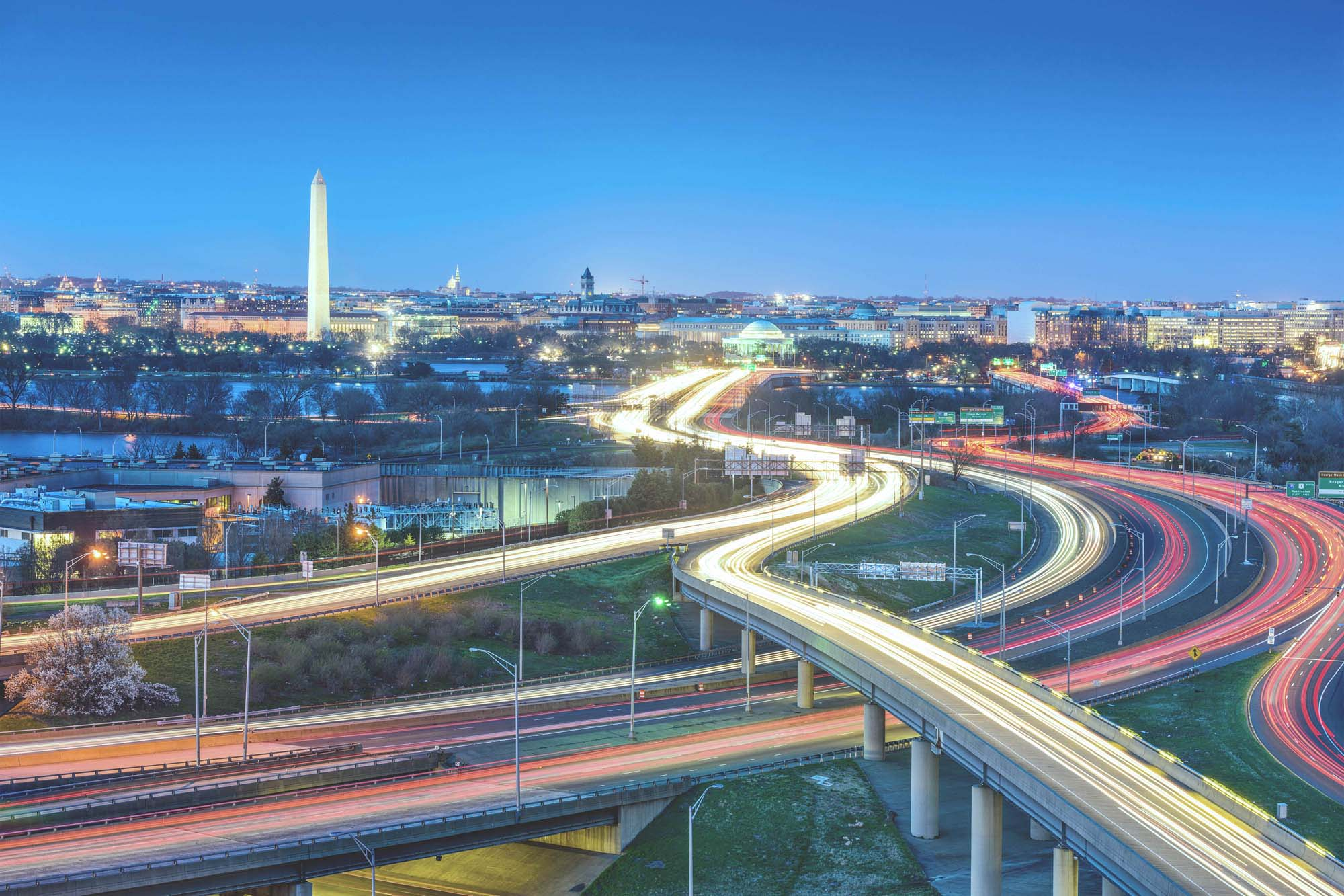 Washington D.C., skyline with highways and monuments - Decorative